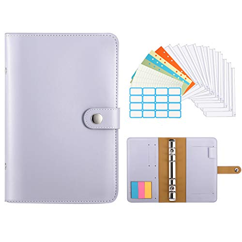 TiMOVO A6 Budget Binder Planner, 6 Ring Notebook Binder Pockets Budget Envelopes PU Leather Cover Folder 12 pcs Loose-Leaf Clear Plastic Pockets & Page Markers & Label Stickers & Papers, Light Purple