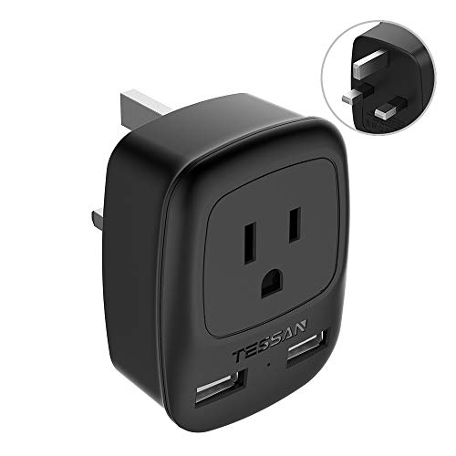 UK Ireland Hong Kong Power Adapter, TESSAN UK Travel Plug Adapter with 2 USB Charging Ports for USA to UK British England London Scotland Irish Wall Outlet- Compact Safe Grounded Type G