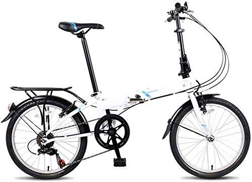 Bicicleta plegable de 20 en 7 velocidades, para ciudad, para adultos, con portabicicletas trasero, portátil, para mujeres, S City, equitación, para viajar, para ir al trabajo