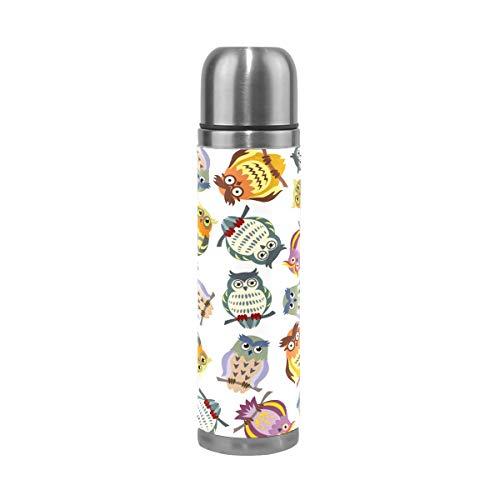TIZORAX Dibujos animados coloridos Búhos de doble pared taza de vacío aislada botella de agua de acero inoxidable taza de viaje termo taza de café 17 oz