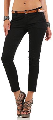 Malito Pantalones-Capri con Cinturón por imitación Chino-Pantalones 5388 Mujer (L, Negro)