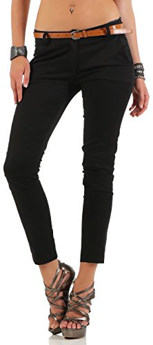 Malito Damen Chinohose mit Gürtel   Stretch Caprihose   schicke Freizeithose   Skinny - Slimfit - elegant 5388 (schwarz, L)