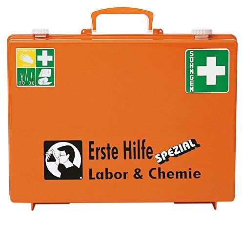 SÖHNGEN 0360106 Erste-Hilfe-Koffer Spezial Labor & Chemie, Verbandskoffer mit Wandhalterung, orange, ASR A4.3/DIN 13157 aus Kunststoff, mit PRÜFPLAKETTE
