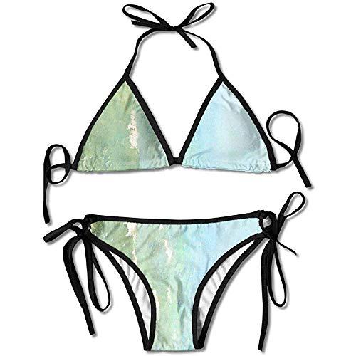 Sdltkhy Bikini, Serene Coastal Border Frauen Push-Up gepolsterte BH Bandage Bikini Set Badeanzug