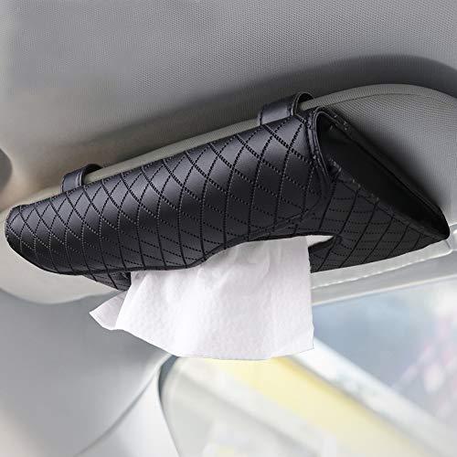 Beaverve Car Tissue Holder, Luxury Tissue Box Holder for Car, Sun Visor Napkin Holder, Hanging Car Tissues Holder for Car & Truck Decoration, PU Leather Backseat Car Tissue Box with 1 Tissue Refill