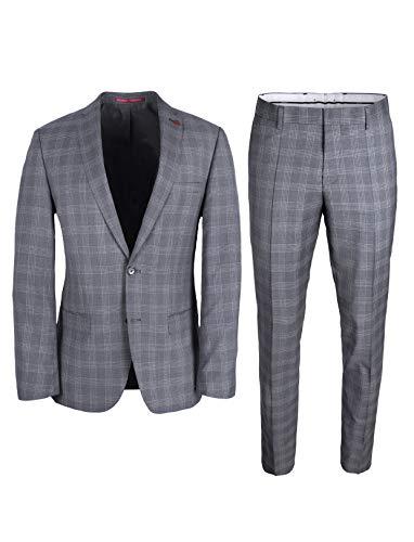 Roy Robson Herren Anzug Slim Fit 2-teilig aus Schurwolle Super'100 Business (Hellgrau/Weiß, 52)