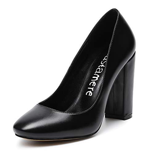 CASTAMERE Mujer Clásico Tacón Ancho Zapatos de Tacón Confort Punta Redonda Zapatos Mujer Sexy Boda Vestido Partido Oficina Tacones Altos 10cm PU Negro EU 37