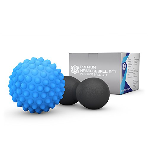 Boundletics Faszienball 2er Set - Duoball & Igelball - Massageball Set mit Anleitung - Faszien Bälle zur Selbstmassage (Blau/Schwarz)