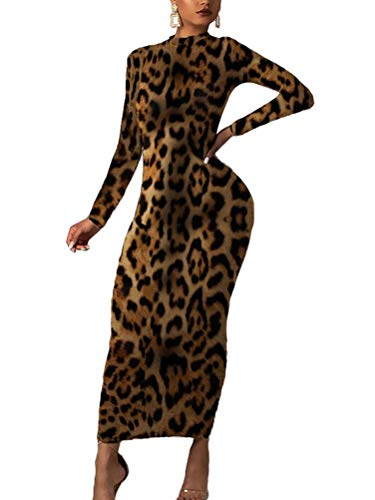 Minetom Damen Langarm Bodycon Kleid Herbst Winter Kleider Sexy Slim Club Party Cocktail Business Leopard Midikleid Abendkleid Bleistftkleid B Leopard 02 34