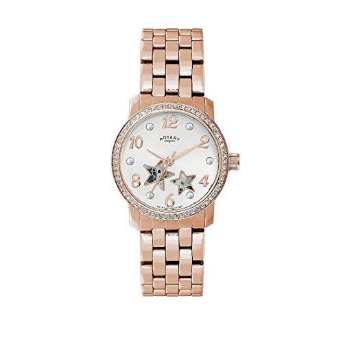 Rotary Womens 35mm acero pulsera y caso automático Rose oro/MOP Dial analógico reloj