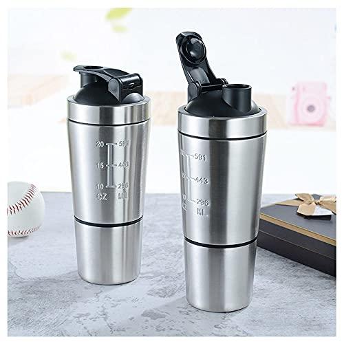 Botella de agitadora de acero inoxidable de proteína libre de BPA con bola de agitación y doble escala. Frecuencia de fugas de kettle de movimiento y limpieza fácil para el deporte del gimnasio