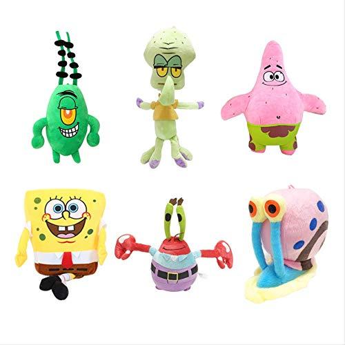 N\A 20cm 6pcs / Lot Plüschtier Spongebob Kids Cartoon Movie Charaktere Weihnachten Geburtstagsgeschenk Spielzeug Kuscheltiere Plüschtiere 20cm 6 Stück