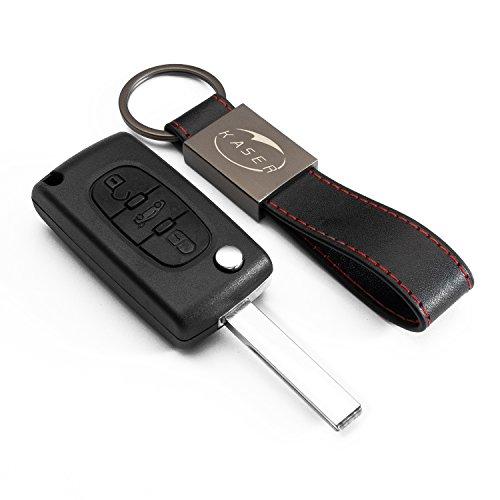 Schlüssel Gehäuse Fernbedienung für Peugeot 3 Tasten Autoschlüssel Funkschlüssel 107 207 307 407 308 409 407 607 mit Leder Schlüsselanhänger KASER