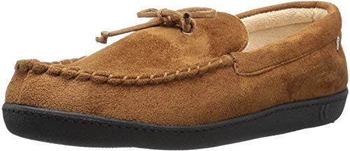 ISOTONER Men's Whipstitch Gel Infused Memory Foam Moccasin, Cognac, Medium
