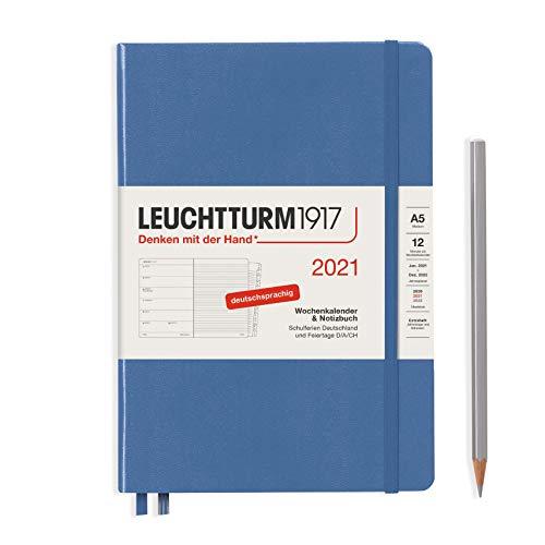 LEUCHTTURM1917 361825 Wochenkalender & Notizbuch 2021 Hardcover Medium (A5), 12 Monate, Denim, Deutsch