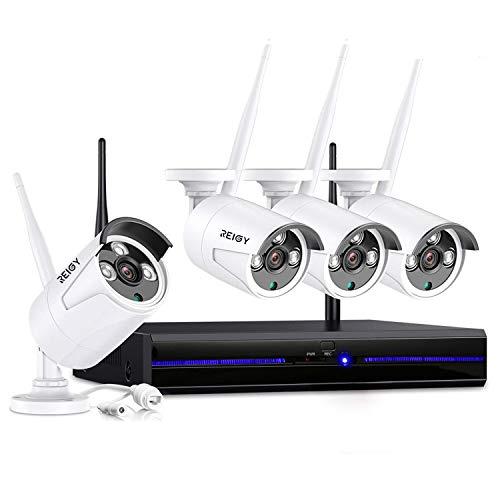 REIGY 2MP Kit Videosorveglianza Wifi Esterno, 8CH NVR+4x1080P IP66 Impermeabile CCTV Camera, Telecamera Sorveglianza Wireless Registrazione Audio Visione Notturna Senza HDD Bianco (White)