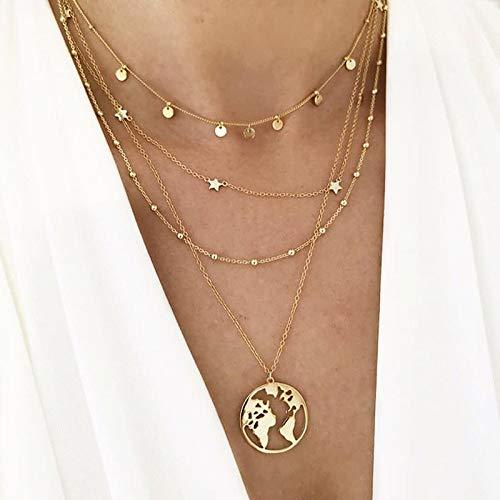 TFOOD Ketting voor dames, meerlagige gouden wereldkaartlegering, hanger, zilver, kettinghanger, etnische sieraden voor moeders en mannen, cadeau-accessoires