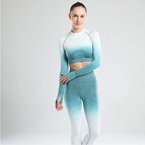 YEESEU Ropa Deportiva de Mujer Gradientes de Yoga de 2/3 Piezas Set Tie Tinte Sujetador Steps Sets Fitness Ropa de Manga Larga Cultivo Top Top Altas Leggings Trajes
