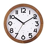BEW Small Wall Clock, 8 Inch Silent Wooden Wall Clock, Retro Decorative Classic Analog Round Hanging Clock for Bedroom, Living Room, Kitchen