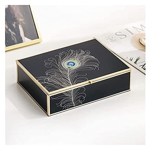 Exquisito maquillaje de lujo de lujo negro joyería organizador caja caja de joyería elegante pavo real pluma oro frontera decoración anillo collar pendientes reloj de almacenamiento caja de almacenami
