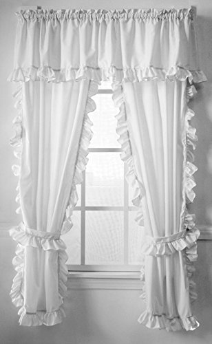 The Curtain Shop Classic White Cape Cod Ruffle 63 Panel Pair
