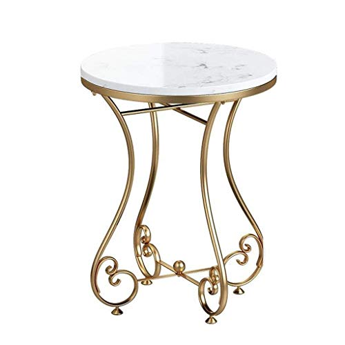 BHJqsy Living room coffee table Nordic marble side table - simple round sofa corner table - balcony coffee table - gold metal frame Nest Tables (Color : A)