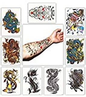 DevilFace Large Temporary tattoos for Men Women, 9 Sheets Fake Tattoo (Dragon)
