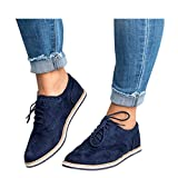 Womens Ankle Flat Suede Lace-up Sport Shoes Walking Running Casual Fashion Sneakers (Blue -1, US:9.5-10.0)
