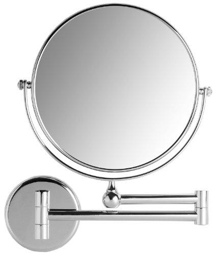 VELMA - AE802 5x - Hochwertiger 2-seitiger Kosmetikspiegel - 5-Fach Vergrößerung + Normalgröße - In alle Richtungen verstellbar - Hochglanz verchromtes Messing - Kein Plastik - Lässt sich vollständig