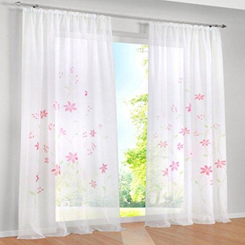Yujiao Mao 1er Pack Voile Gardine Flowers farbenfrohe Vorhänge Schal mit Kräuselband Pink BxH 150x245cm