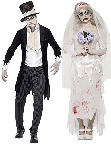 Fancy Me Herren Damen Paar Kostüm Zombie Geist Leiche Braut & Bräutigam Halloween Verkleidung Outfit - Ladies UK 12-14 & Mens Medium