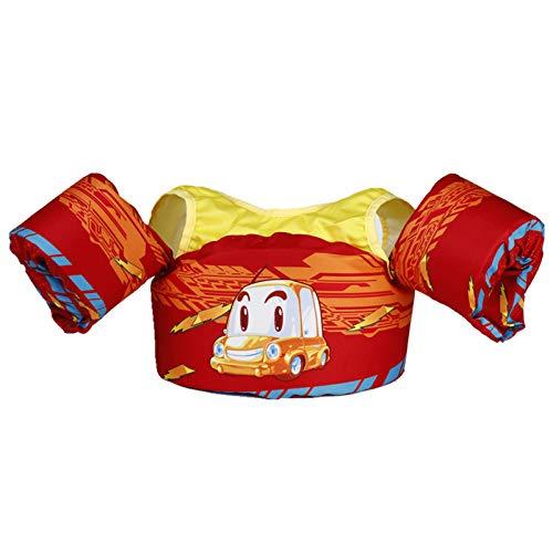 Yeah-hhi Rettungsweste Kinderschwimmweste Kinder Badeanzug Schwimmenassistent Mit Schultergurt Und Armflügel Für 2-6 Jahre Alt, 30-55 lb,Rot