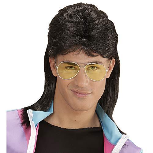 Widmann 01853 - Perücke Mullet, mit Brille, Vokuhila, schwarz, 80er Jahre, Kleidungszubehör, Kunsthaar, Frisur, Retro Style, Bad Taste Party, Karneval, Mottoparty