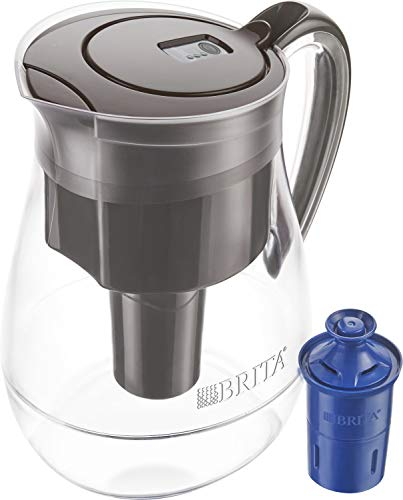 Brita Longlast Monterey Water Filter Pitcher, Large 10 Cup 1 Count, Black