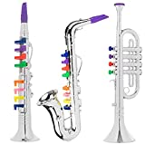 Toy To Enjoy Kids Toy Musical Instrument 3 Piece Set - Trumpet Saxophone & Clarinet with Color Coded Keys for Boys and Girl Ages 3 and Up