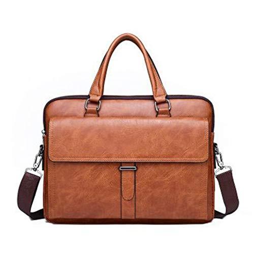 HHTD Bolsa de Mensajero de Hombre Maletín de Cuero Retro Bolsa Grande Bolsa de Hombro Bolsa de Cuero Robusto Portátil Bolsa (Color : Brown)