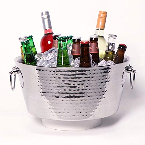 BREKX Hammered Stainless-Steel Beverage Tub, Double-Walled Insulated Anchored Drink Tub & Ice Bucket with Double Hinged Handles, Drink Chiller for Parties, 12 Quarts