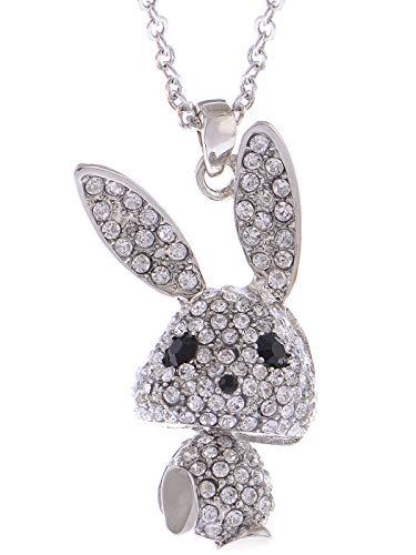 ALILANG Silberfarbener Kristall Strass Bobble Anime Bunny Rabbit Anhänger Halskette
