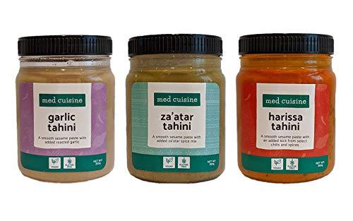 Med Cuisine Creme Tahini Aromatizzate - Thaina al Gusto Za'atar, Harissa e Aglio - Fonte di Ferro e Calcio - Burro di Sesamo Vegano - Senza Glutine, Noci e Kosher - 350g