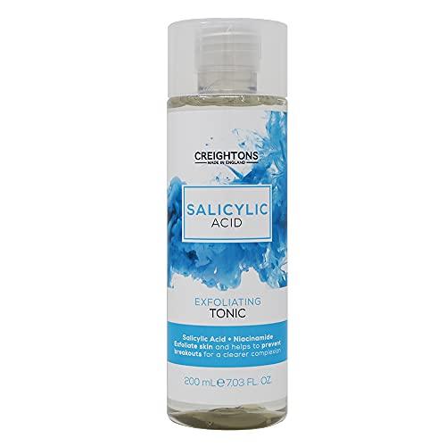 Creightons - Tonico esfoliante acido salicilico, acido salicilico e niacinamide esfolia la pelle e aiuta a prevenire sbalzi per una carnagione più chiara, trasparente, 200 ml