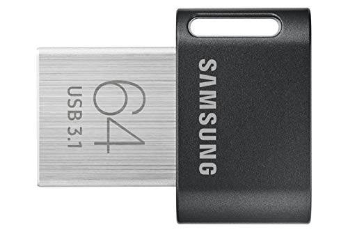 Samsung MUF-64AB/EU Memoria USB (64 GB, 3.1 (3.1 Gen 1), Conector USB Tipo A, Girar, 3,1 g), Negro, Acero Inoxidable