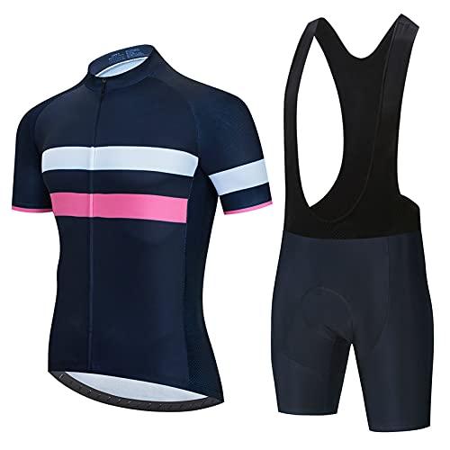 Traje Ciclismo Hombre para Verano, Hombre Traje de Ciclismo,Ciclismo Maillot y Culotte Ciclismo Culote Bicicleta con 5D Gel Pad (Black D2,XL)