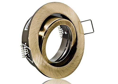 LED Einbaustrahler Einbauleuchte Einbauspot schwenkbar Altmessing inklusive GU10 Fassung 230V (Rund Altmessing)