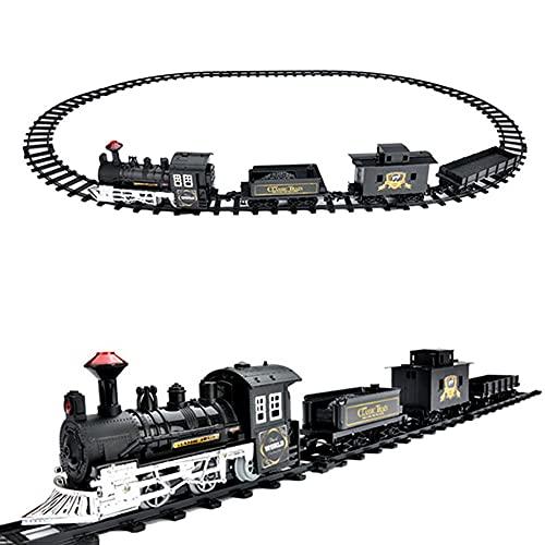 FXQIN Conjunto de Tren de Navidad con luz de Sonido Realista, Locomotora,...
