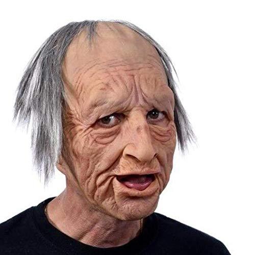 Beliebteste Art Halloween Latex Maske ,Old Woman Mask Kostüme Requisiten Zum Oma Opa Gesicht Perücke Alten Mann Maske Haube Halloween Peripherie