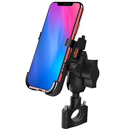 TR Turn Raise Motorrad Handyhalterung, Motorrad Handyhalterung mit QC 3.0 USB Buchse und 360° Drehbarer Ständer, 12V Wasserdicht Universal für 4-6 Zoll Smartphones