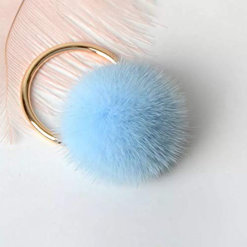 MENGYANG Keychain 'Fluffy Genuine Mink Pompom Keychain For Backpack Car Key Chain Bag Charm For Women Bag Accessories Pendant
