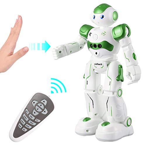Virhuck R2 Ferngesteuerter Roboter, Intelligente Programmierung Geste Sensing RC Robot Kit, Tanzen Singen Walking RC Spielzeug für Kinder Unterhaltung, 500mAh, USB Laden - Blau, Pink, Grau (Grün)