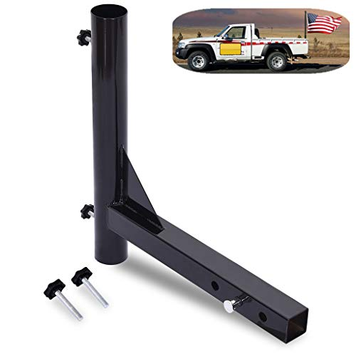 Flag Pole Holder for Trailer Car Camper 2'' Receivers Hitch Mount Flagpole Holder Black Steel