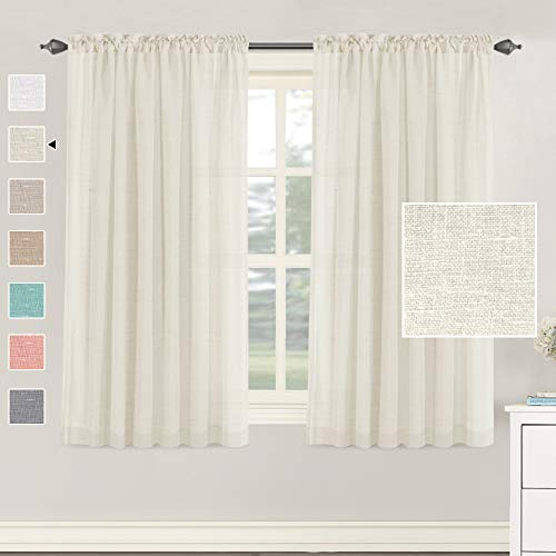 H.VERSAILTEX Natural Linen Blended Curtains 63 Inches Length 2 Panels Textured Woven Linen Sheer Curtain Drapes for Living Room/Bedroom Light Filtering Rod Pocket Casual Draperies - Ivory